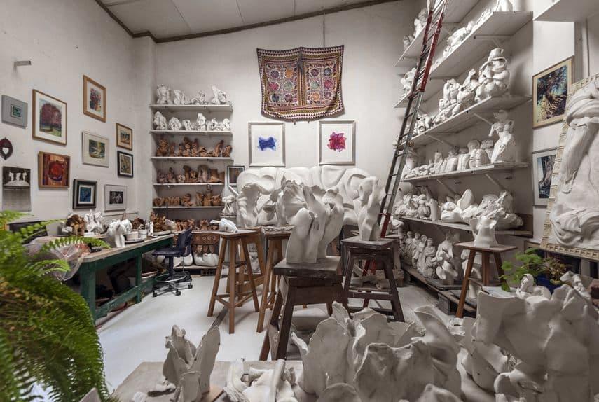 Helaine Blumenfeld's studio in Pietrasanta, 2016 by the sculptor heleaine blumenfeld