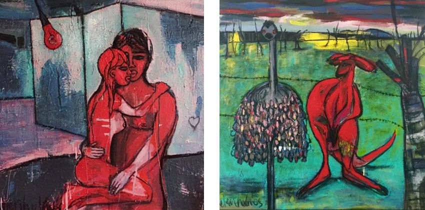 Helen Holmes - Roxeanne You Dont Have to Put on the RED Light, 2015 (Left) / Forward We Go, 2015 (Right) - exhibition