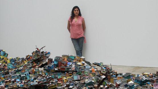 Hema Upadhyay - profile, next to Dream a Wish - Wish a Dream installation