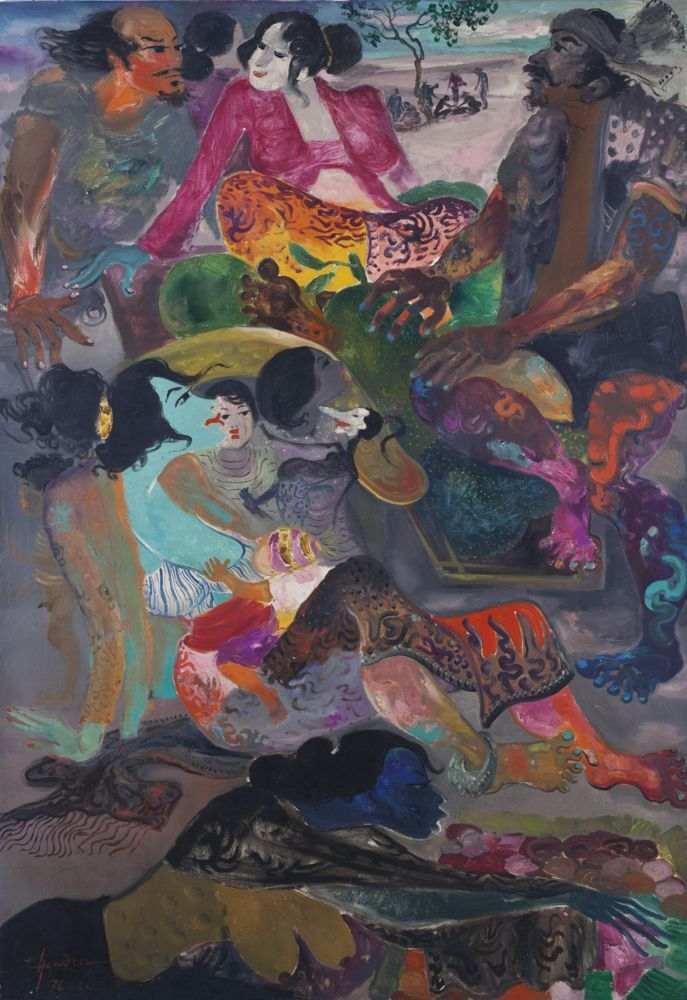 Hendra Gunawan-Market Scene-1976