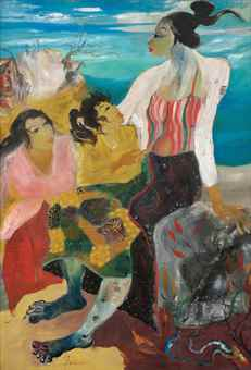 Hendra Gunawan-Three Women on a Beach-1960