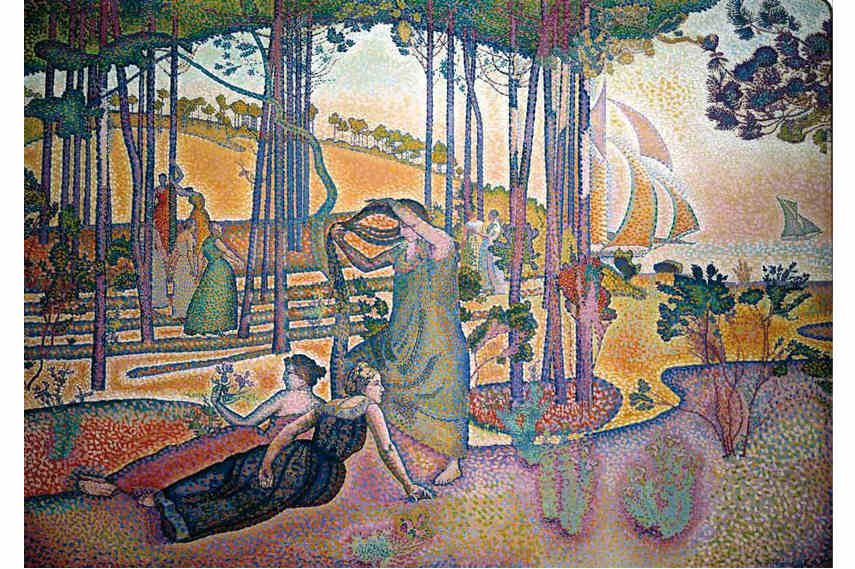 Pointillism painting by Henri-Edmond Cross - Eveneing Air, 1893