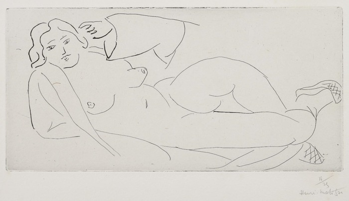 Henri Matisse-Nu allonge, aux babouches de paille tressee (Lying Nude with Woven Straw Slippers)-1931