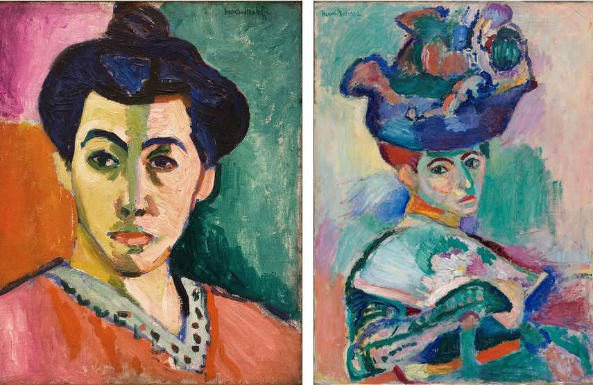 Henri Matisse - Portrait of Madame Matisse, 1905 (left) --- Woman with a Hat, 1905 )right)