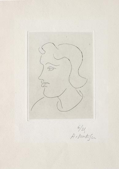 Henri Matisse-Profil de jeune femme (Profile of a young woman)-1945