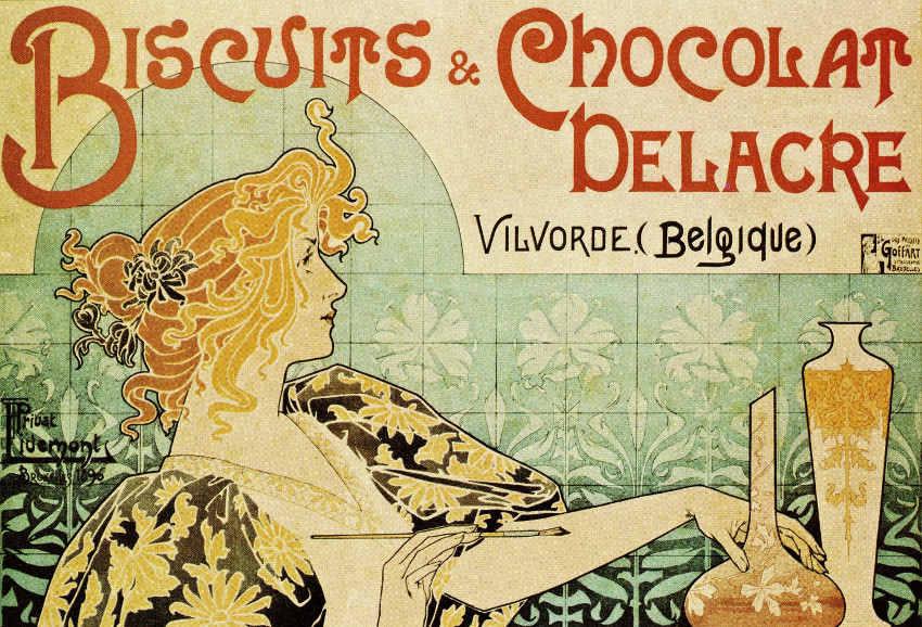 Henri Privat-Livemont - Biscuits & Chocolat Delacre Poster, 1896, image via retrographik