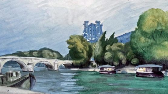 Henri Verge-Sarrat - Le Pont Royal, Paris - Image via carnesfineart