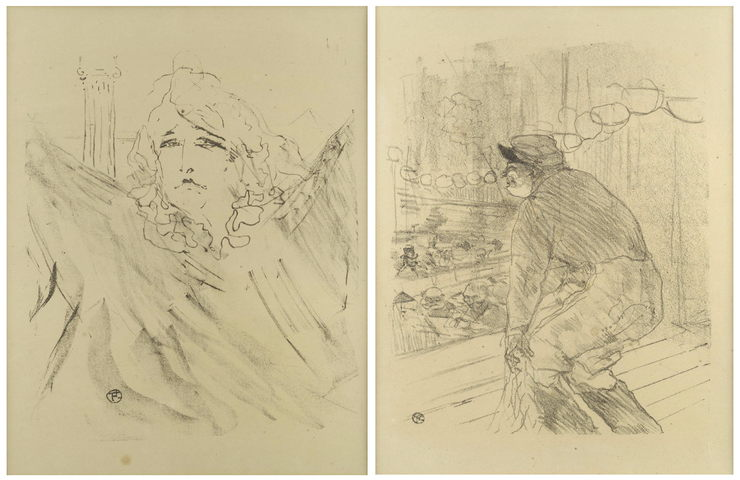 Henri de Toulouse-Lautrec-Two lithographs from Portraits d'Acteurs et d'Actrices, Treize Lithographies (Sarah Bernhardt' and 'Polin)-1898