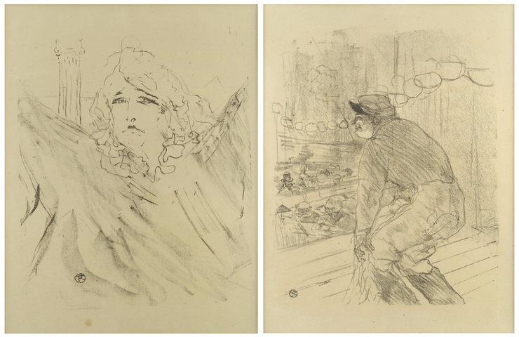 Henri de Toulouse-Lautrec-Two lithographs from Portraits d'Acteurs et d'Actrices, Treize Lithographies (Sarah Bernhardt' and 'Polin)-1898
