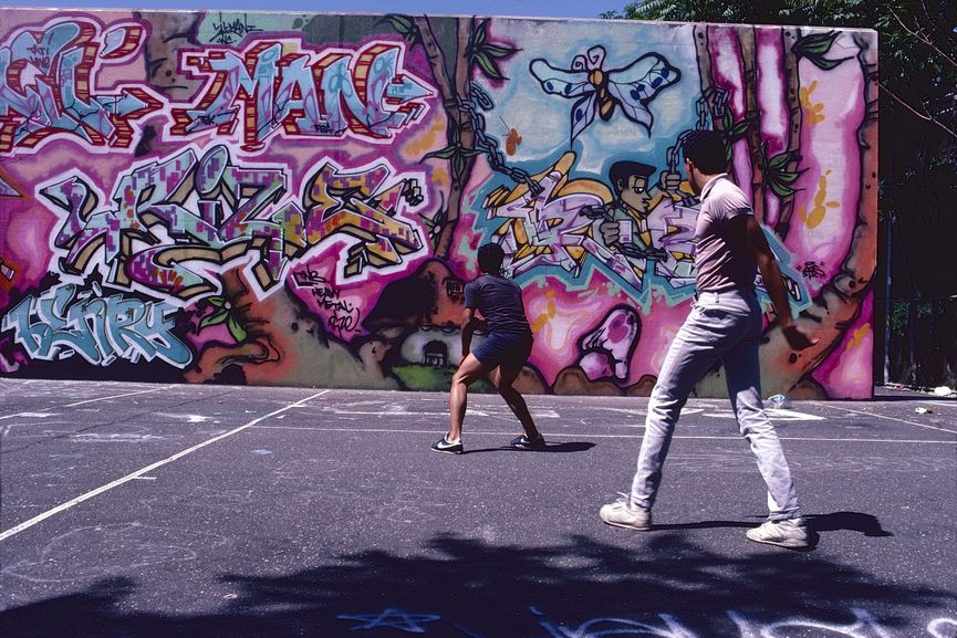 Henry Chalfant - Wall by Rize and Lil Man, Ven - Washington Heights, Manhattan, NYC. 1986