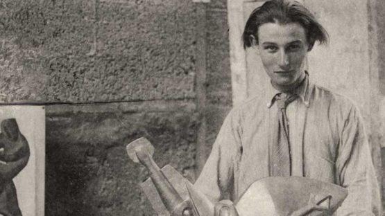 Henry Gaudier-Brzeska in his studio in Putney, 1913 (detail)