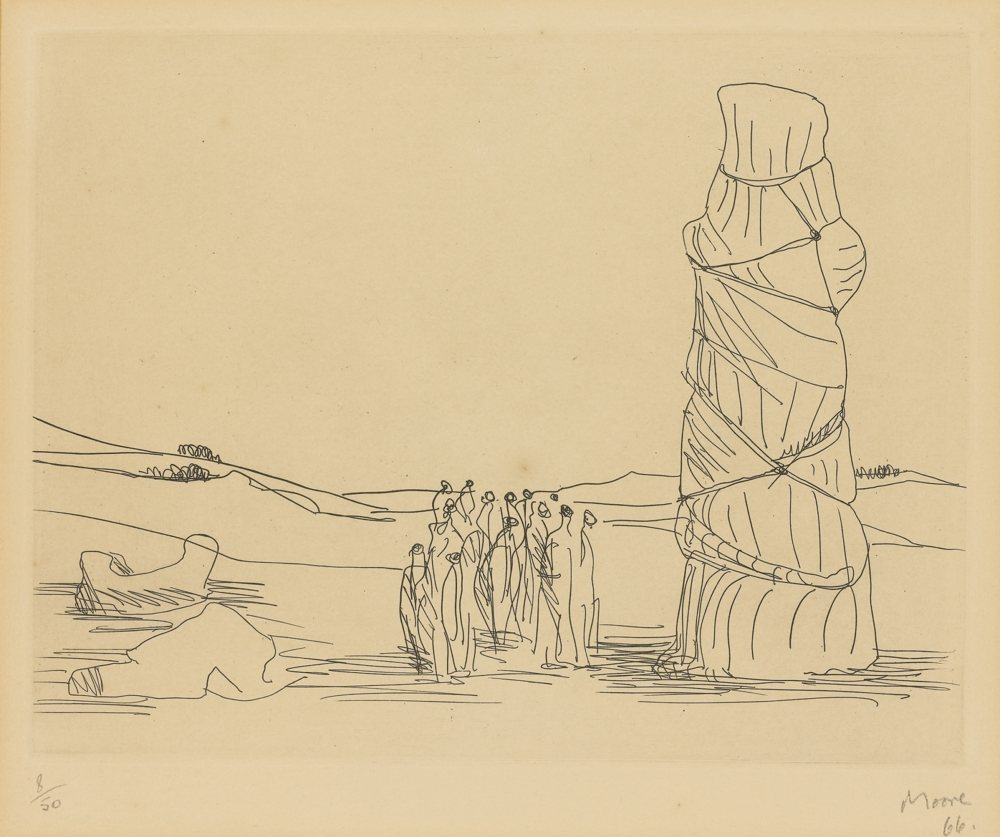 Henry Moore-Crowd Looking At A Tied-Up Object-1966