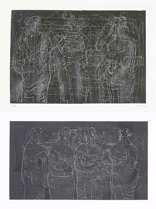 Henry Moore-Four Standing Women; Three Cloaked Figures-1974