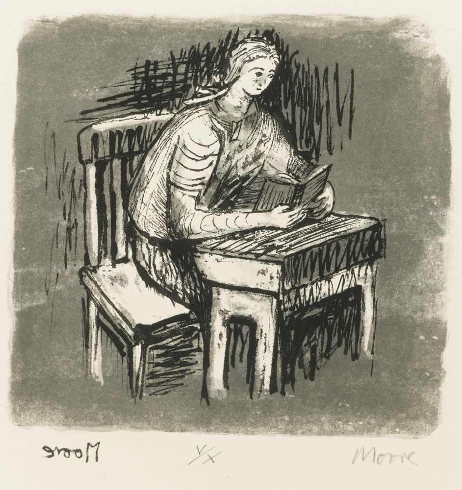 Henry Moore-Girl Seated At Desk V-1974