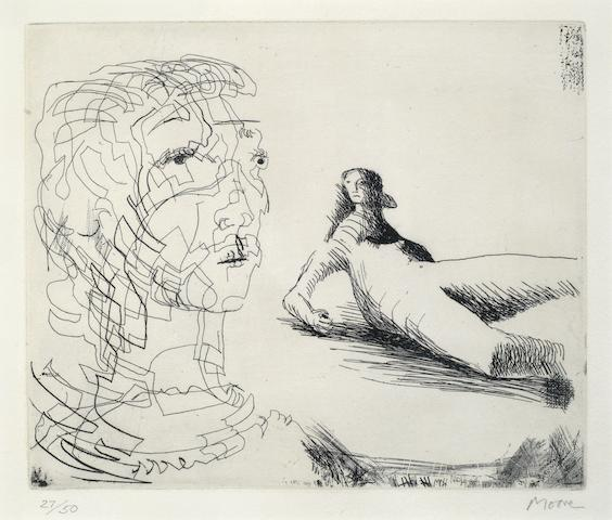 Henry Moore-Head of a Girl and Reclining Figure-1979
