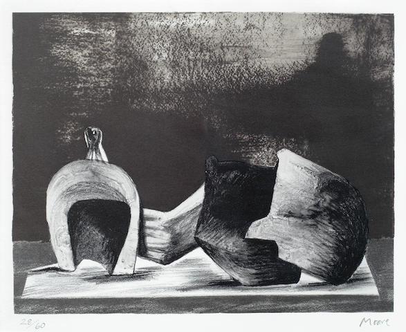 Henry Moore-Reclining Figure Interior Setting II-1977