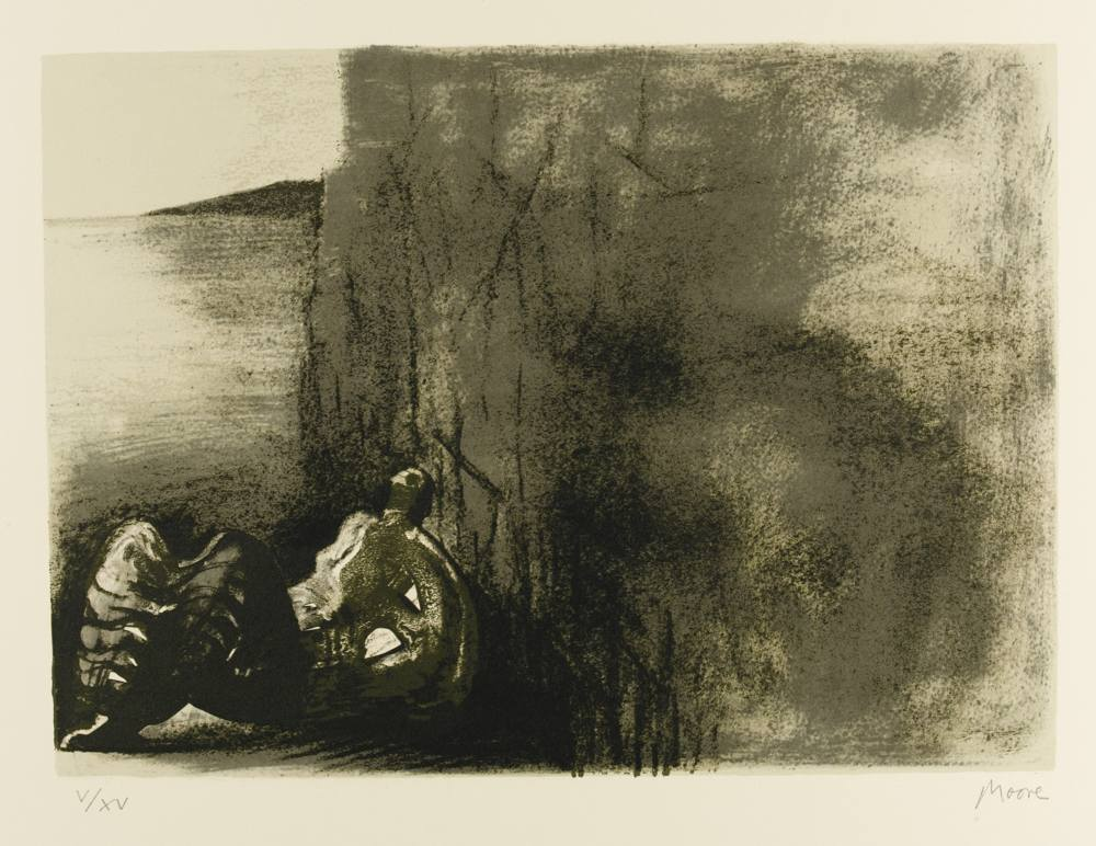 Henry Moore-Reclining Figure With Cliff Background-1976