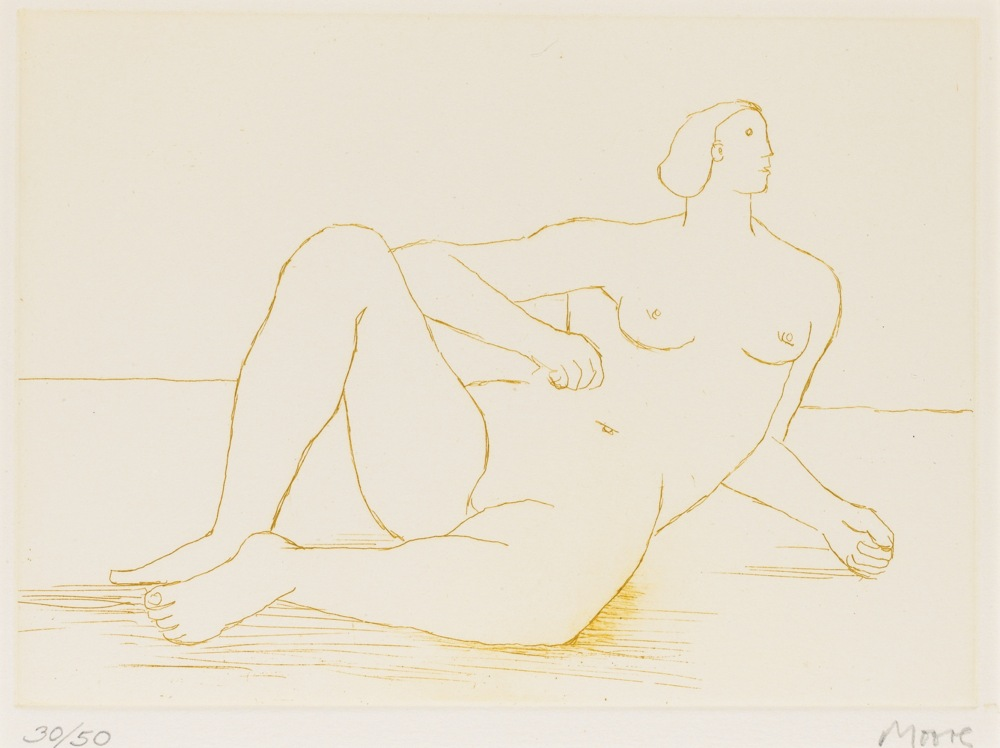 Henry Moore-Reclining Nude I-1978