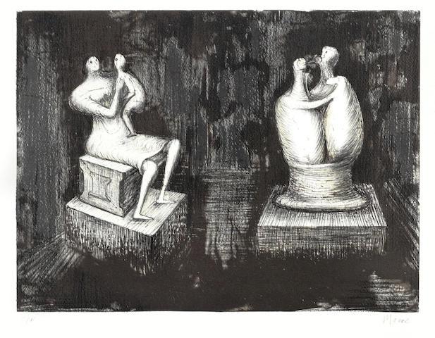 Henry Moore (1831-1895)-Sculptures Dark Interior-1973