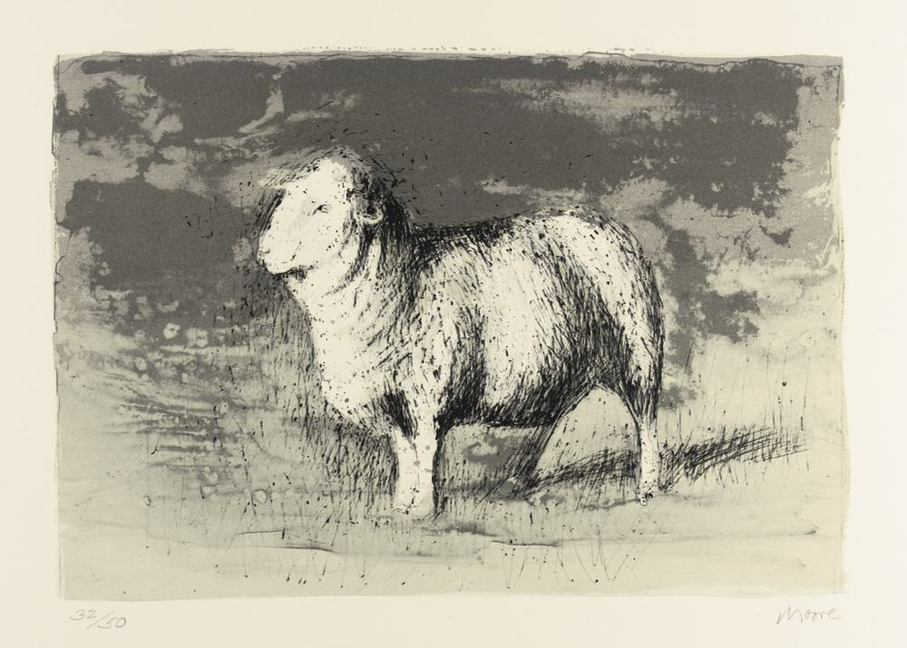 Henry Moore-Sheep In Stormy Landscape-1974