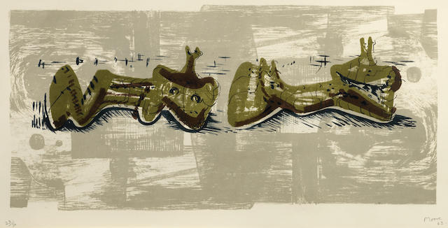 Henry Moore-Two Reclining Figures with River Background-1963