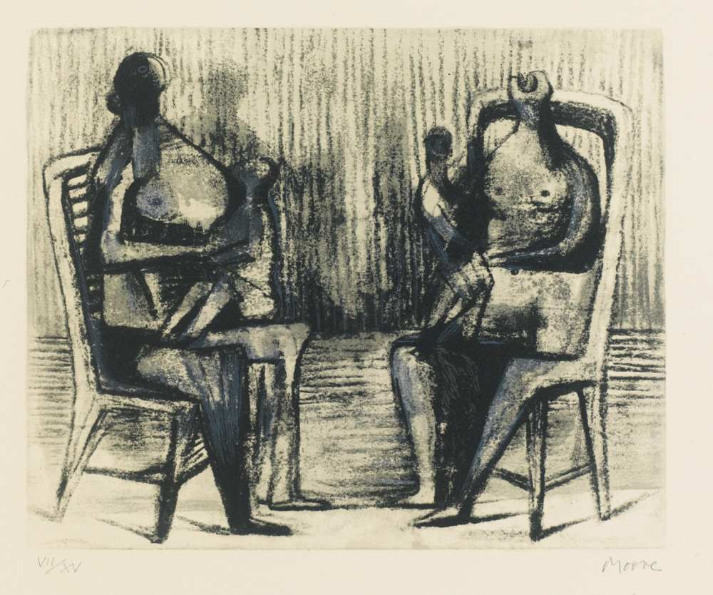 Henry Moore-Two Seated Figures With Children-1976
