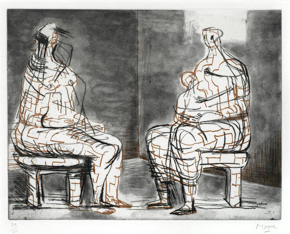 Henry Moore-Two seated figures-1970