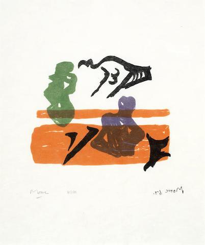 Henry Moore-Violet Torso on Orange Stripes-1967