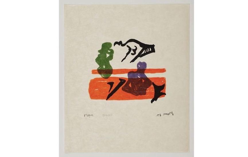 Henry Moore - Violet Torso on Orange Stripes, 1967