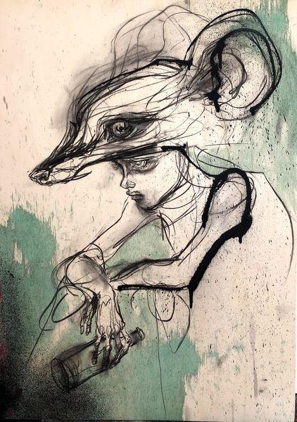 Herakut - Contemplating Rodent, 2018