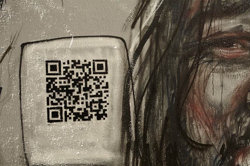 Herakut - Portrait of Karim and the QR code search using privacy points 2015
