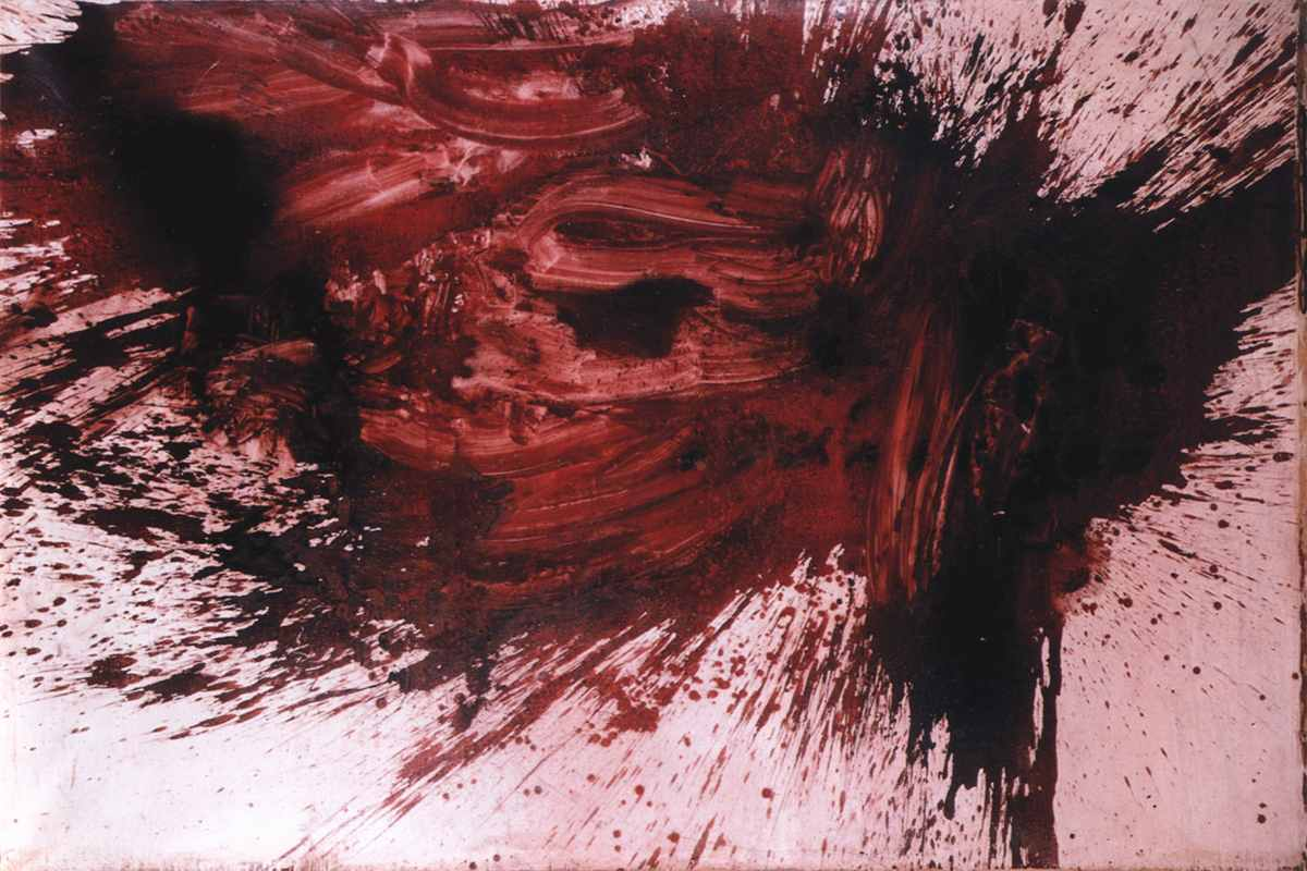 Scary art by Herrmann Nitsch is easily recognizable by his blood colored splash paintings