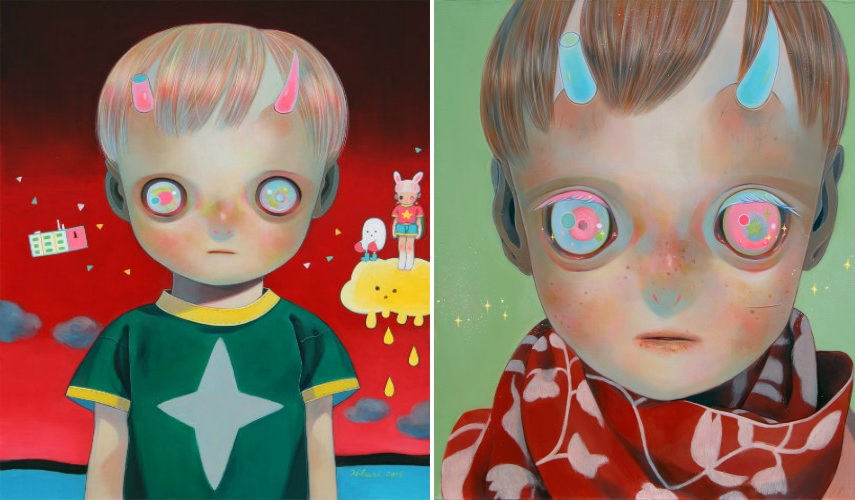 Hikari Shimoda - Children of this Planet 28, 2015 (left) - Blue Horns, Red Scarf (right) prints artwork tokyo shop artist instagram