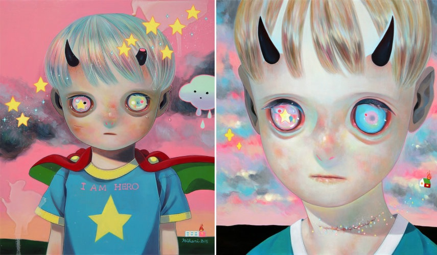 Hikari Shimoda - Children of this Planet 29, 2015 (left) - Whereabouts of God 11, 2014 (right) prints artwork tokyo shop artist instagram