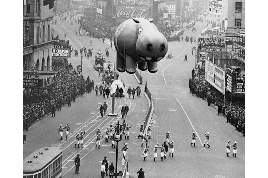 Unlike some of the featured characters and figures from the early years, that may seem a bit unsettling today, there's nothing even remotely creepy about this giant inflated hippo from the 1940 Parade 2015 day