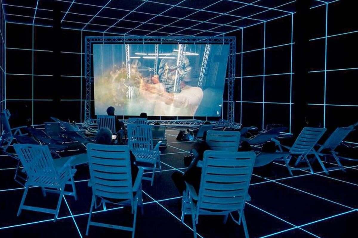 Hito Steyerl - Factory of the Sun, 2015, installation view, German Pavilion, La Biennale di Venezia 2015.
