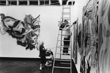 Holly hanging Robert Kushner May 1981 at Holly Solomon gallery