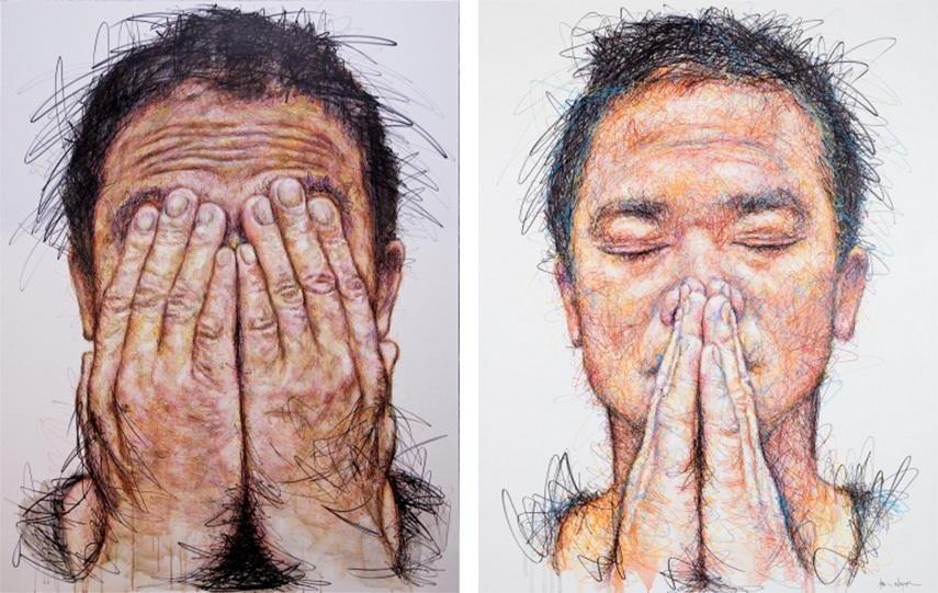 Hom Nguyen - Hidden Autoportrai, 2015 (Left) / Hidden Self Portrait (Iwazaru), 2015 (Right) une france cookies plus page mai artiste œuvres palais