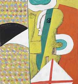 Horst Antes-Interieur mit Figur-1964