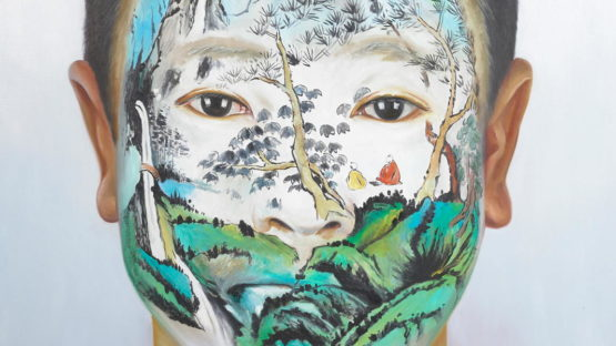 Huang Yan - Chinese Landscape Face Painting - Summer, 2007 (detail)