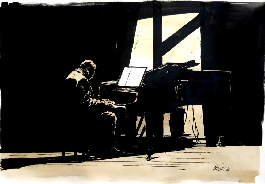 Huberty Breyne Gallery - Christophe Chaboute - Serie Jazz - Pianiste € 1800