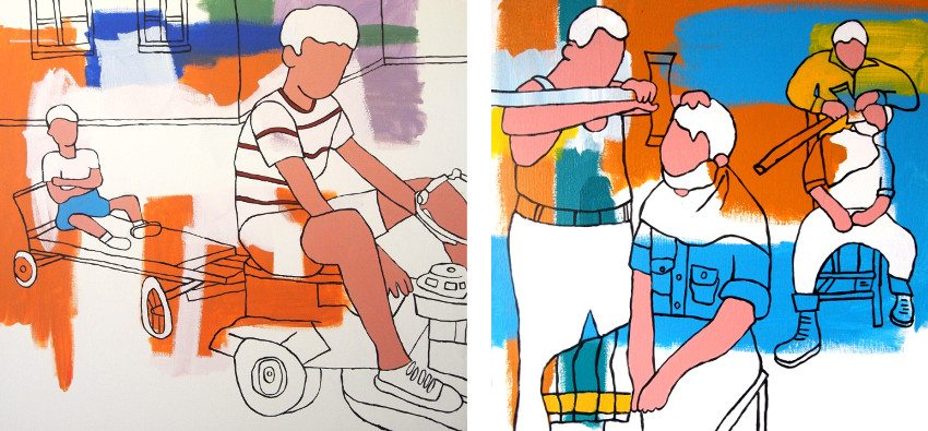 Hugh Ford - Reluctantly Towed, 2012 (Left) / A Real Man's Shave, 2012 (Right)