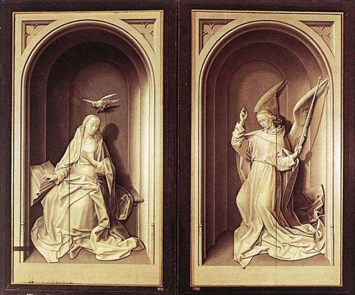 Hugo Van Der Goes - Annunciation, Closed Frontispiece to the Portinari Triptych