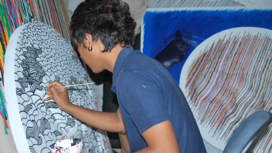 I Made Wiguna Valasara, artist in a process of creation, photo via arsip.galeri.nasional.or.id