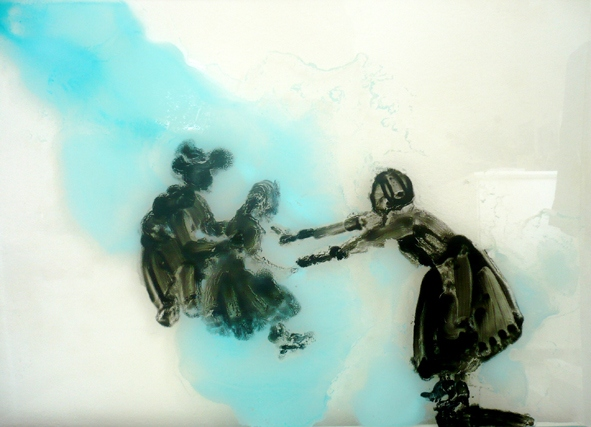 Ilona Szalay, Crossing, 2013 oil on glass