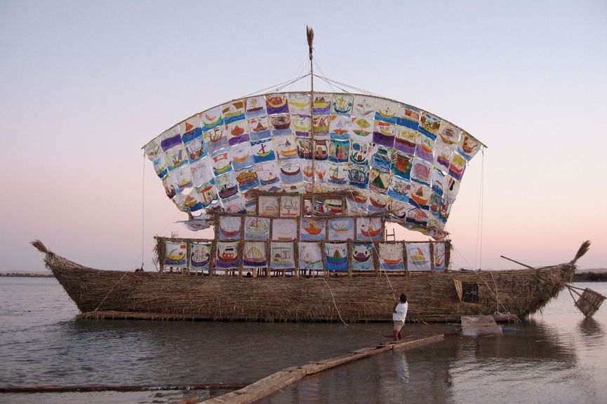 Ilya and Emilia Kabakov's Ship of Tolerance, under sail on a lake in the Siwa Oasis, Egypt, 2005