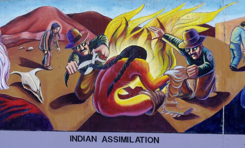 Indian Assimilation is a part of the LA's Great Wall that clearly indicates what the mural is aiming at telling