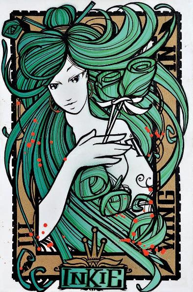 Inkie - Wing and a prayer-Green, 2012 (76 x 50,5 cm)
