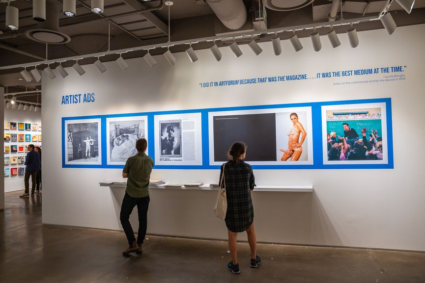 Installation View of Covering the Art World: Six Decades of Artforum