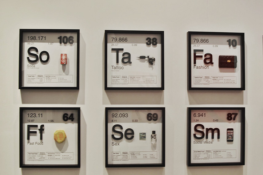 Installation View of Periodic Table of Addiction by Daniel Allen Cohen, Art Wynwood 2019